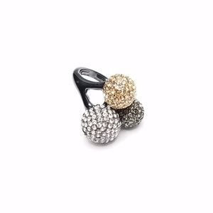 Bold Gold Silver Bling Bubble Unique Cocktail Ring